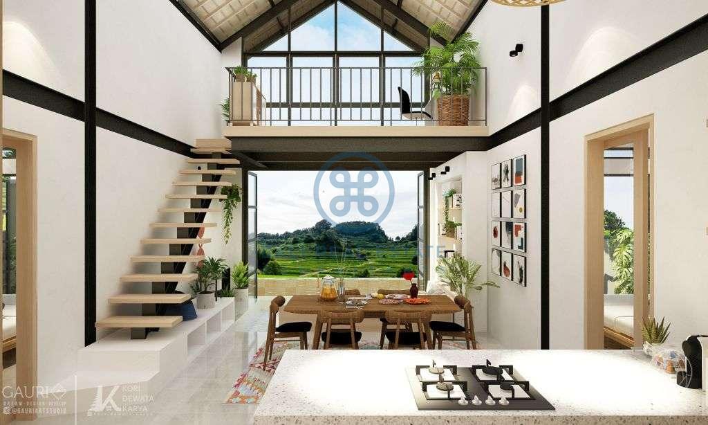 bedroom rice field view loft villa near canggu for sale rent